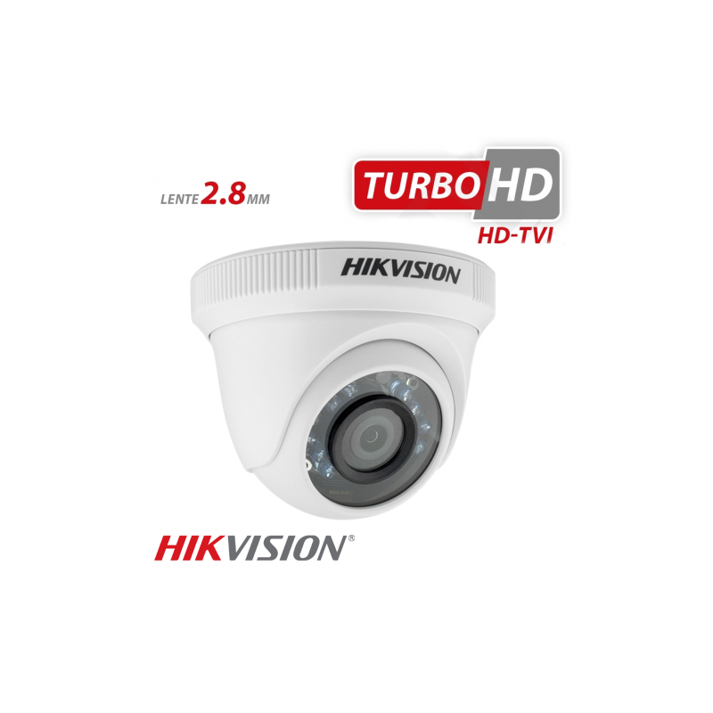 Câmera Hikvision Dome HD-TVI Turbo HD (1.0MP | 720p | 2.8mm | Plast)