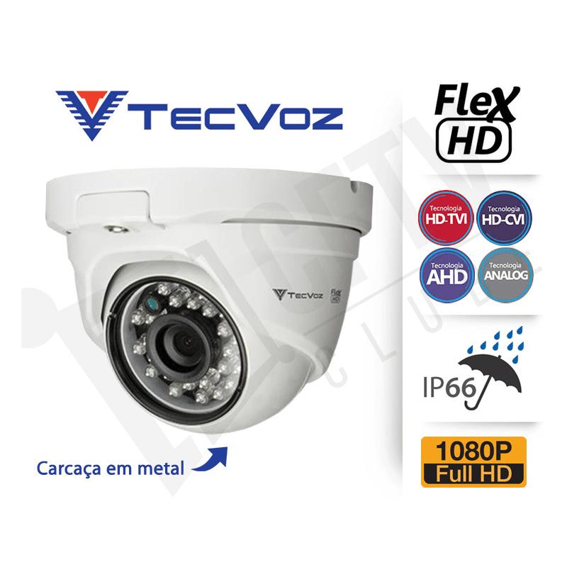 Câmera Tecvoz Dome Flex HD QDM-228 Full HD (2.0MP   1080p   2.8mm   Metal)