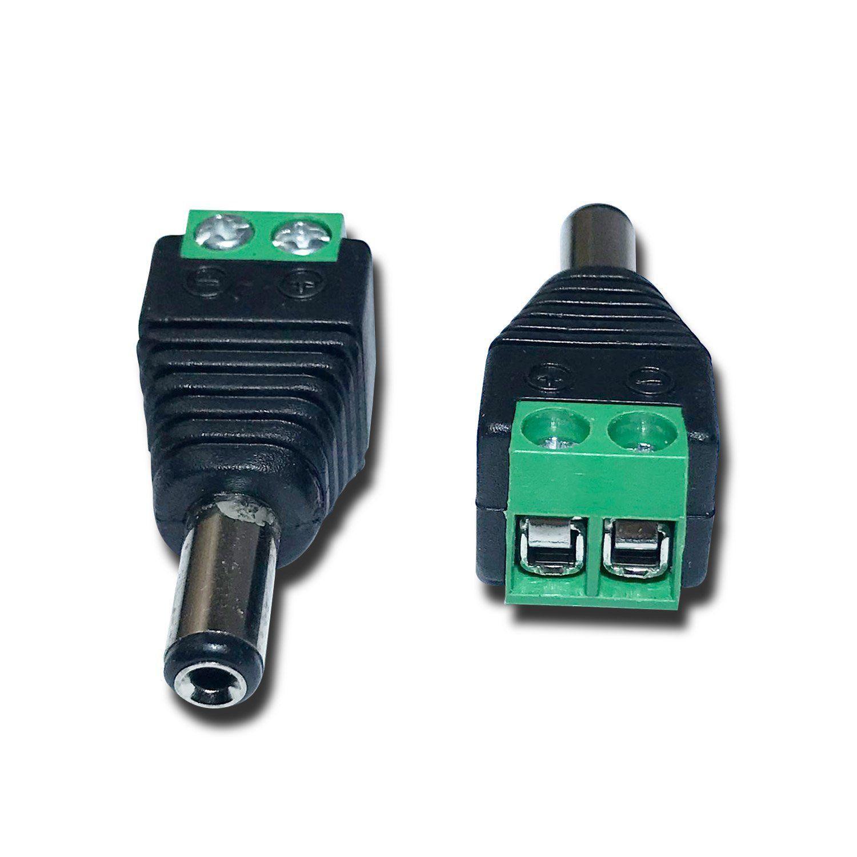 Conector P4 Macho com Borne para CFTV  com Indicador Positivo e Negativo