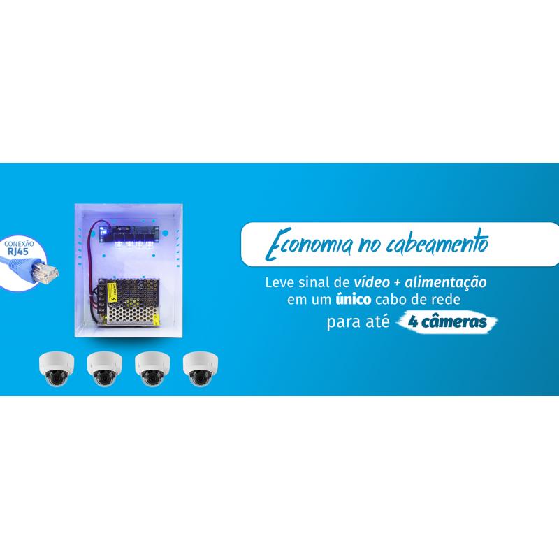 Distribuidor De Vídeo + Energia Para 4 Câmeras - Onix