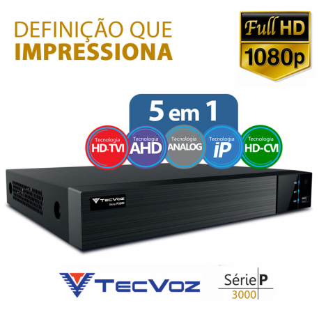 DVR Super Digital Tecvoz 32 Canais Flex Full HD + 4 canais IP 4 megapixels TW-U1032