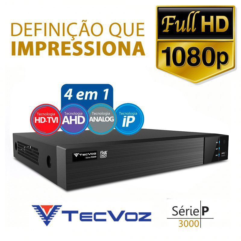 DVR Tecvoz 04 Canais Flex HD Full HD TW-P3004