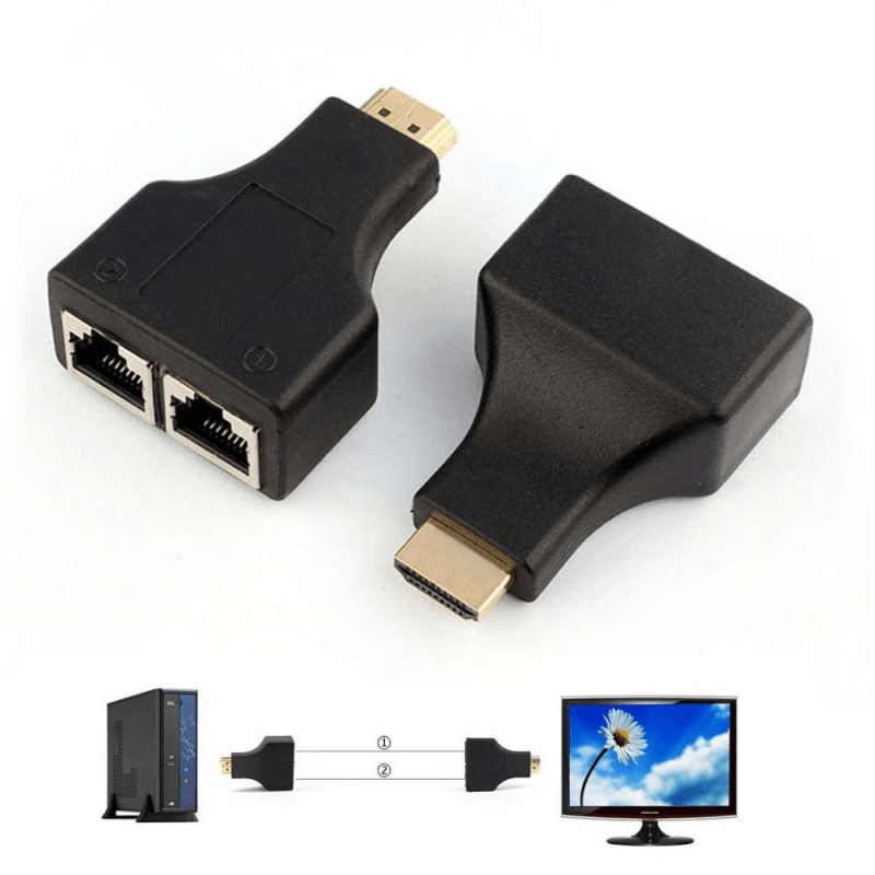 Extensor 02 Portas HDMI Full HD 3D até 30 Metros via Cabo de Rede Cat5e/6