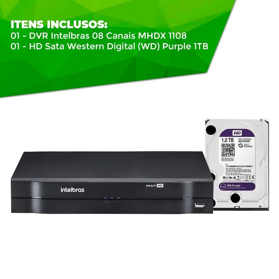 Gravador DVR Intelbras 08 Canais Multi HD Alta Resolução MHDX 1108 Com HD Sata Western Digital (WD) Purple 1TB