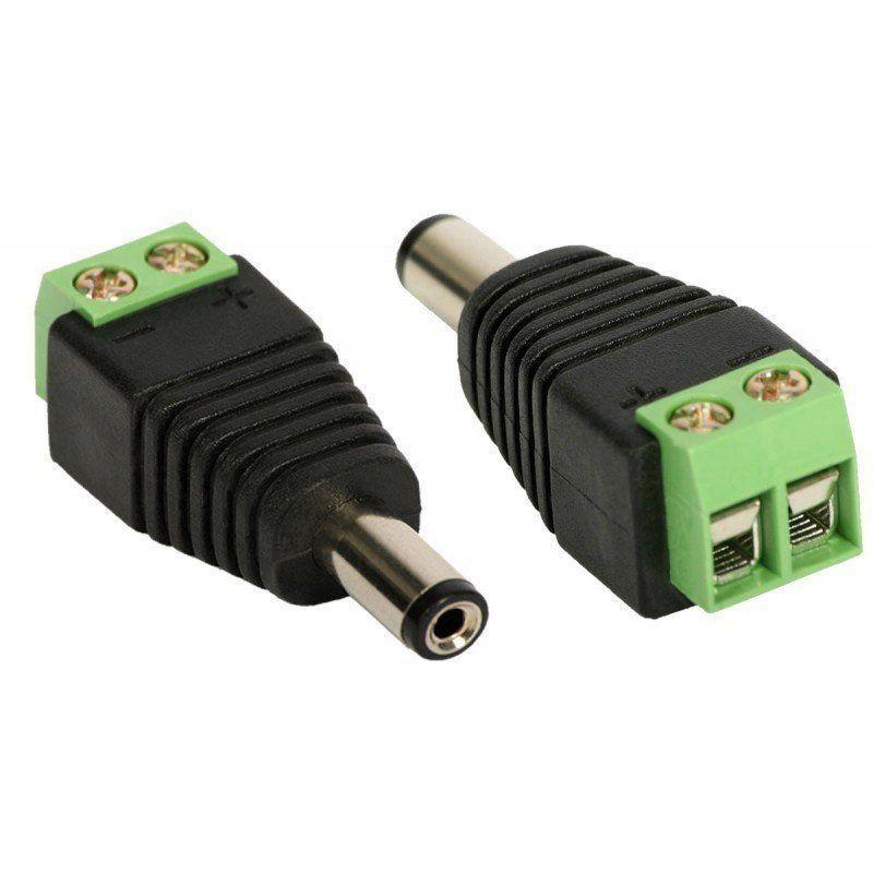 Kit c/ 10 Unid. Conector P4 Macho com Borne para CFTV com Indicadores de Posivito e Negativo