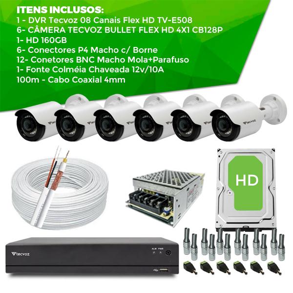 Kit Especial TECVOZ com 6 Câmeras