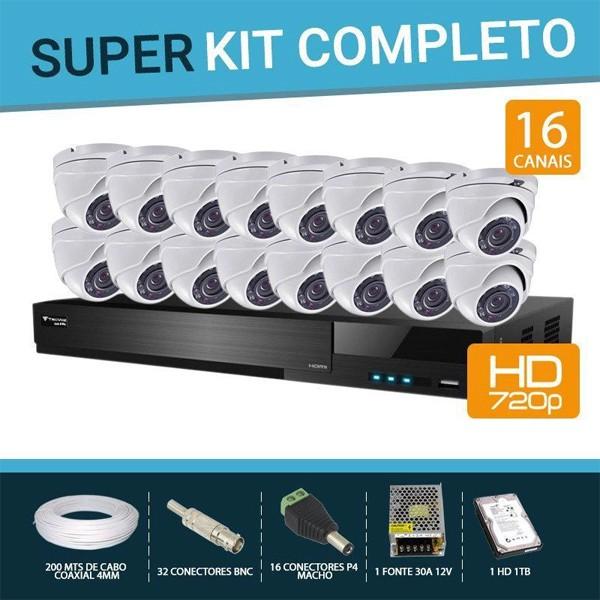Kit Flex Hd Tecvoz E Fbr 16 Canais com 16 Câmeras Dome 4 Em 1 completo