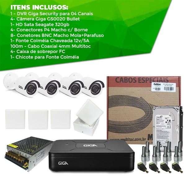 Kit Giga Security Completo - 4 Câmeras