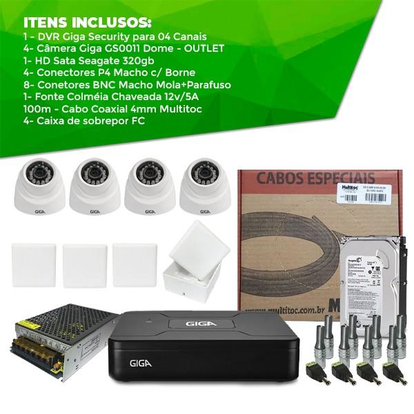 Kit Giga Security Completo - 4 Câmeras OUTLET