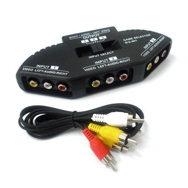 Switch RCA (AV) Chave Seletora de Áudio e Vídeo (3 Entradas x 1 Saída)