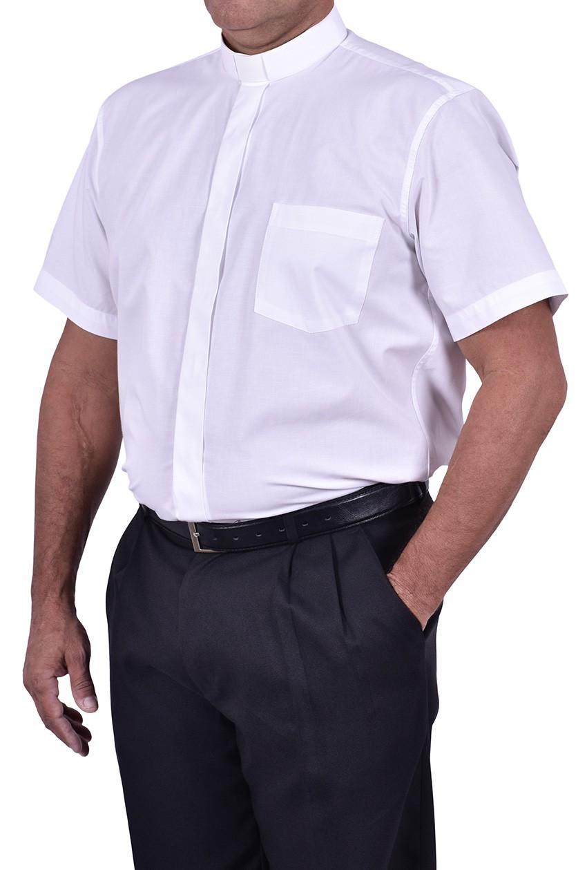 Camisa Clerical Tradicional Manga Corta