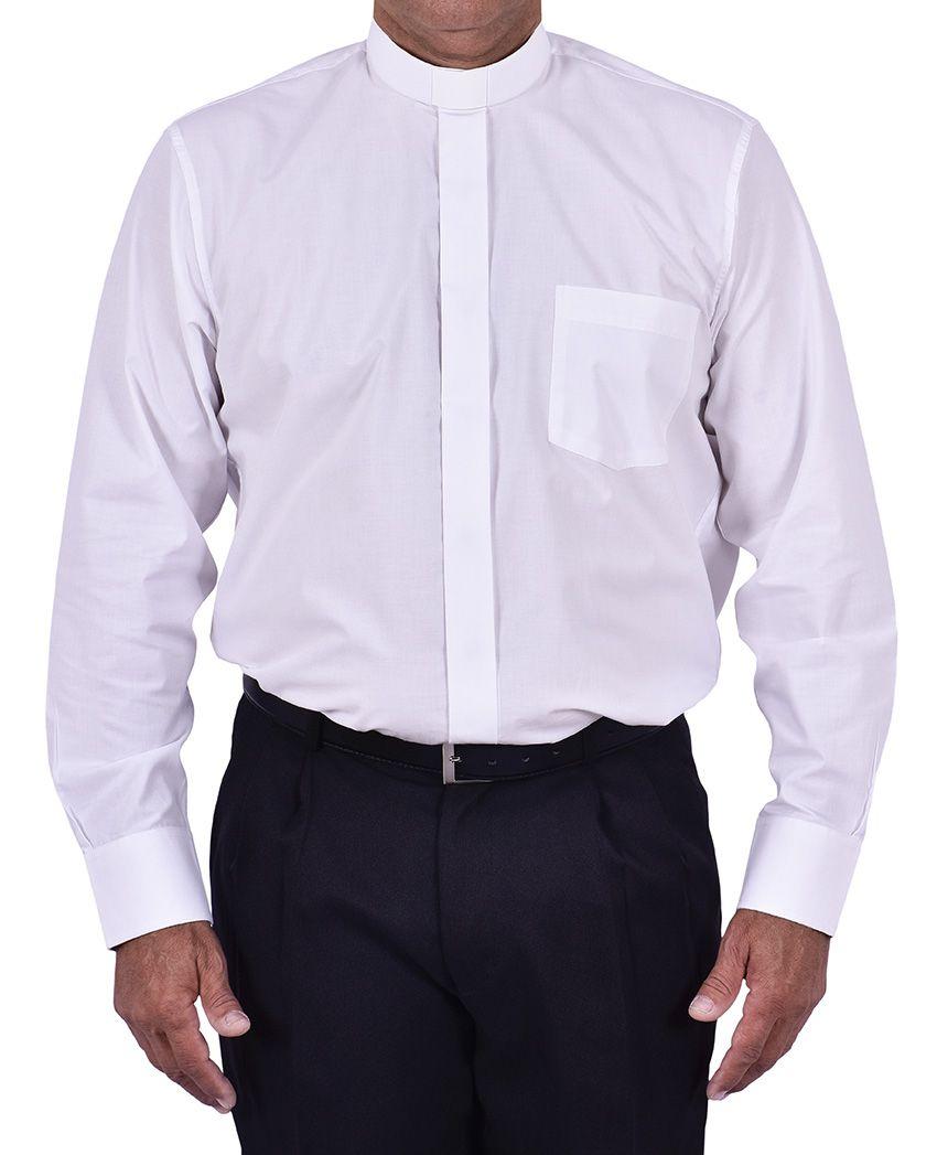 Camisa Clerical Tradicional Manga Larga