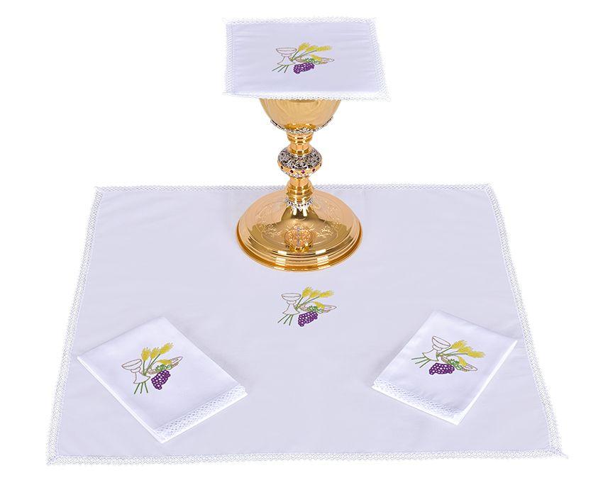 Conjunto de Altar Algodón Cáliz Trigo y Uva B010