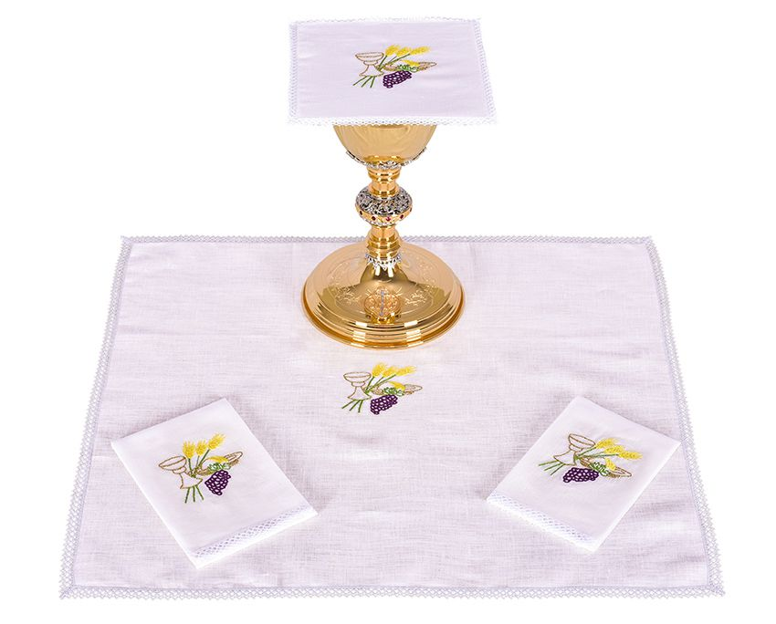Conjunto Paños de Altar Lino Cáliz Trigo y Uva B010