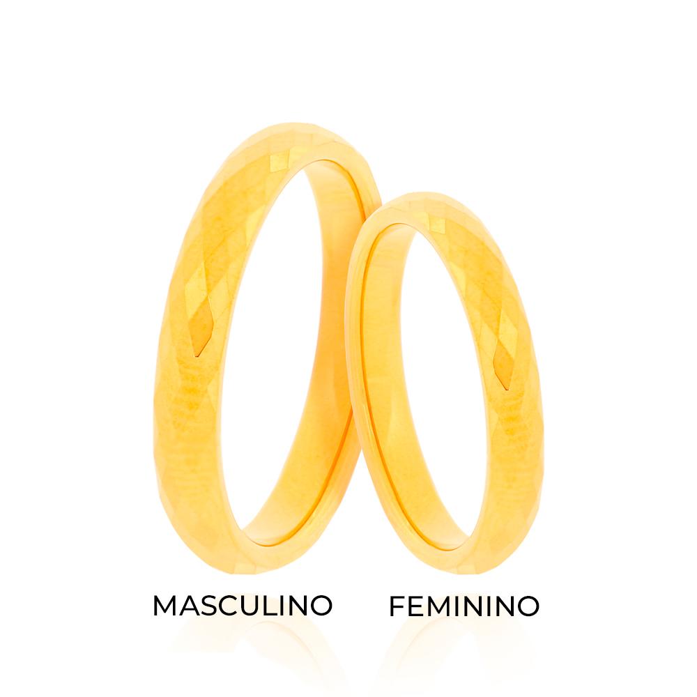 Aliança de Tungstênio Lapidado Masculina Folheado Ouro 18K