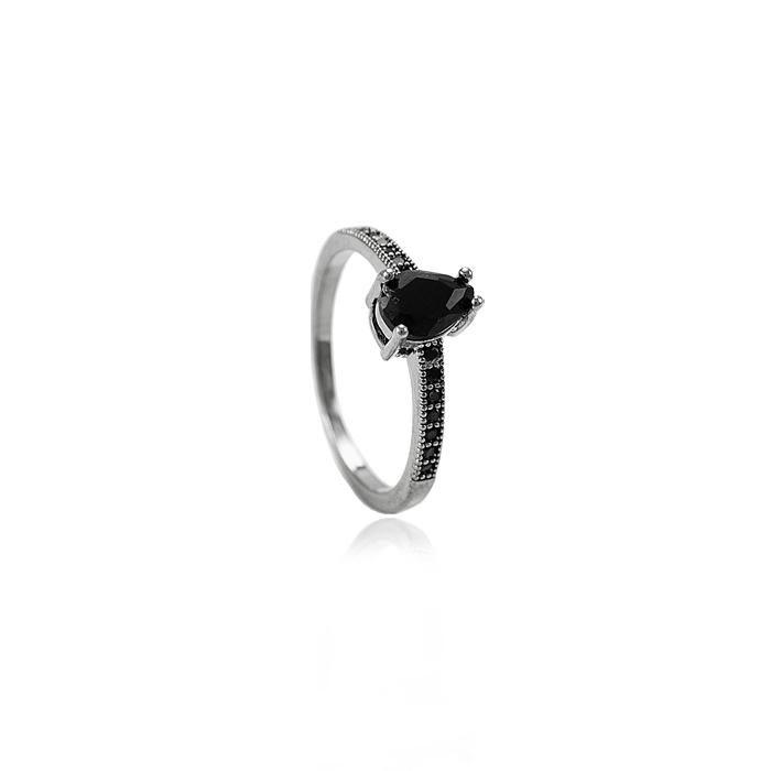 Anel Aparador Folheado Ródio Negro Micro Zircônia