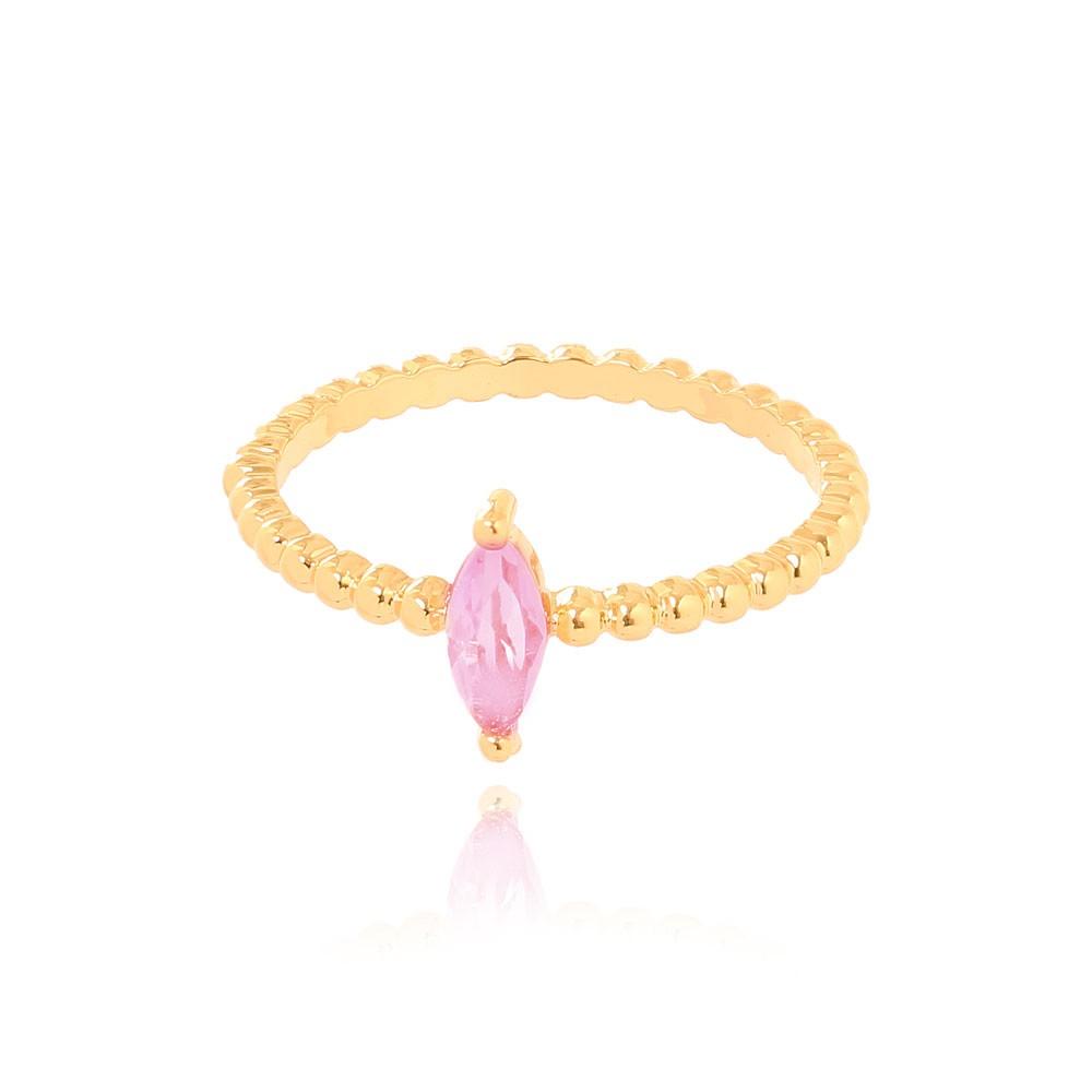 Anel Bolinhas com Navete Folheado Ouro 18K Cristal Rosa