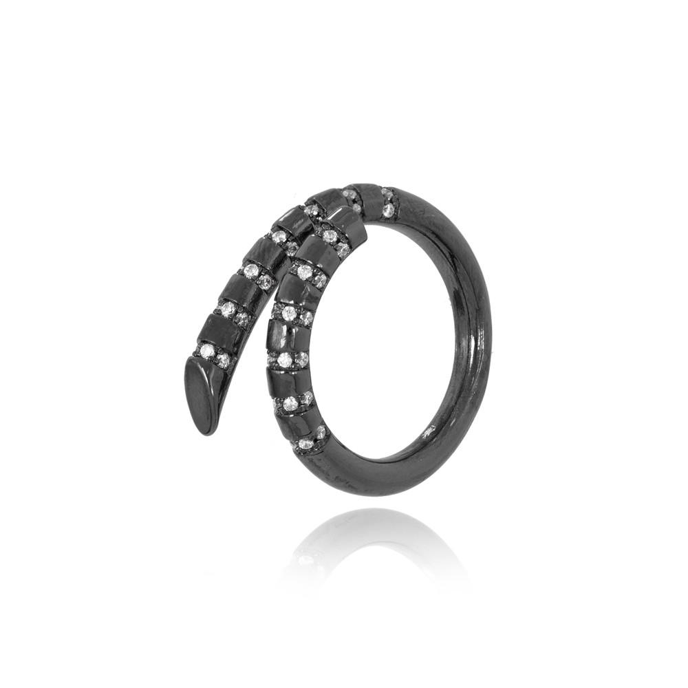 Anel Caracol Folheado Ródio Negro com Micro Zircônia