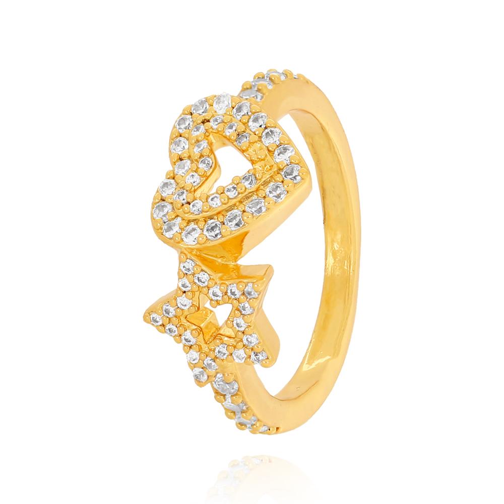 Anel com Estrela e Coração com Zircônias com Centro Vazado Semijoia Ouro 18K
