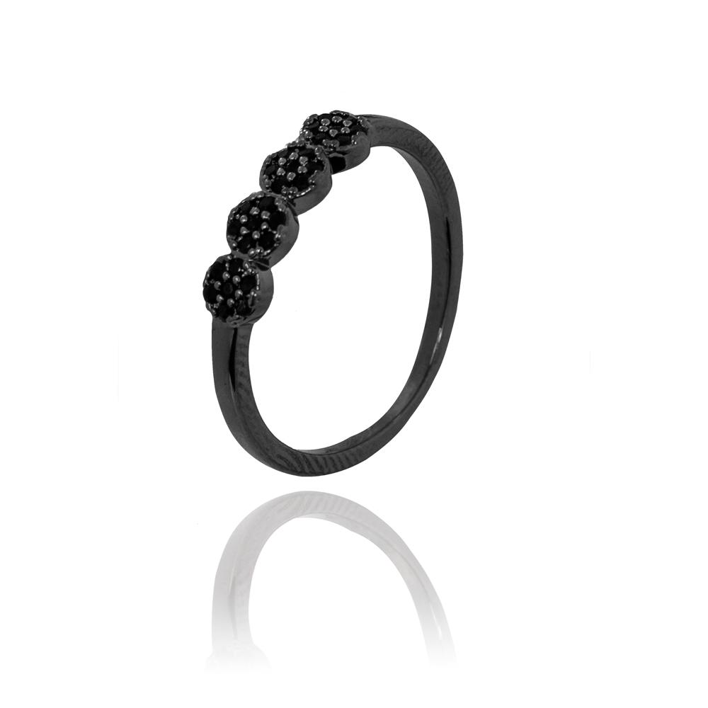 Anel com Fileira de Círculos de Micro Zircônias Negras Folheado Ródio Negro