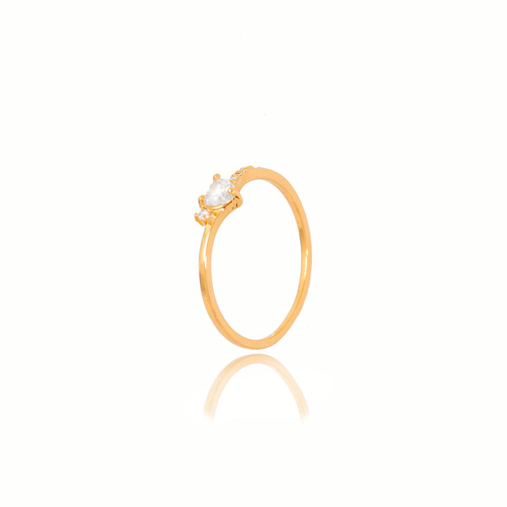 Anel Coração Cristal Folheado Ouro 18K com Micro Zircônia