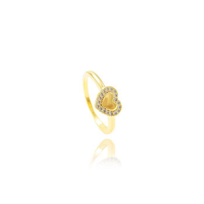 Anel Coração Liso Folheado Ouro 18K com Micro Zirc