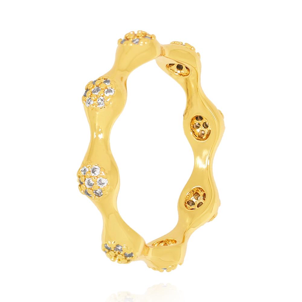 Anel Elevações Circulares com Zircônias Semijoia Ouro 18K