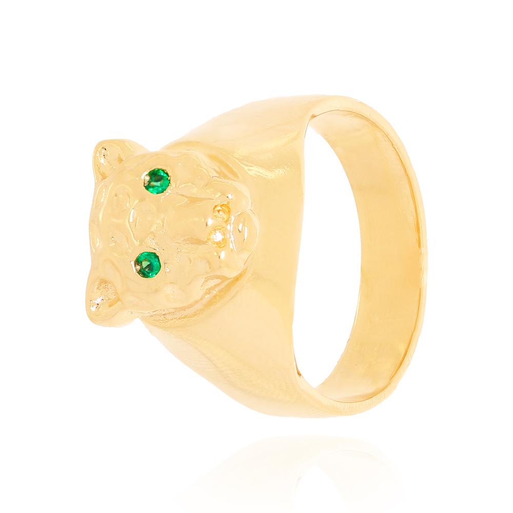 Anel Elevado com Onça de Olhos Zircônia Verde Semijoia Ouro 18K