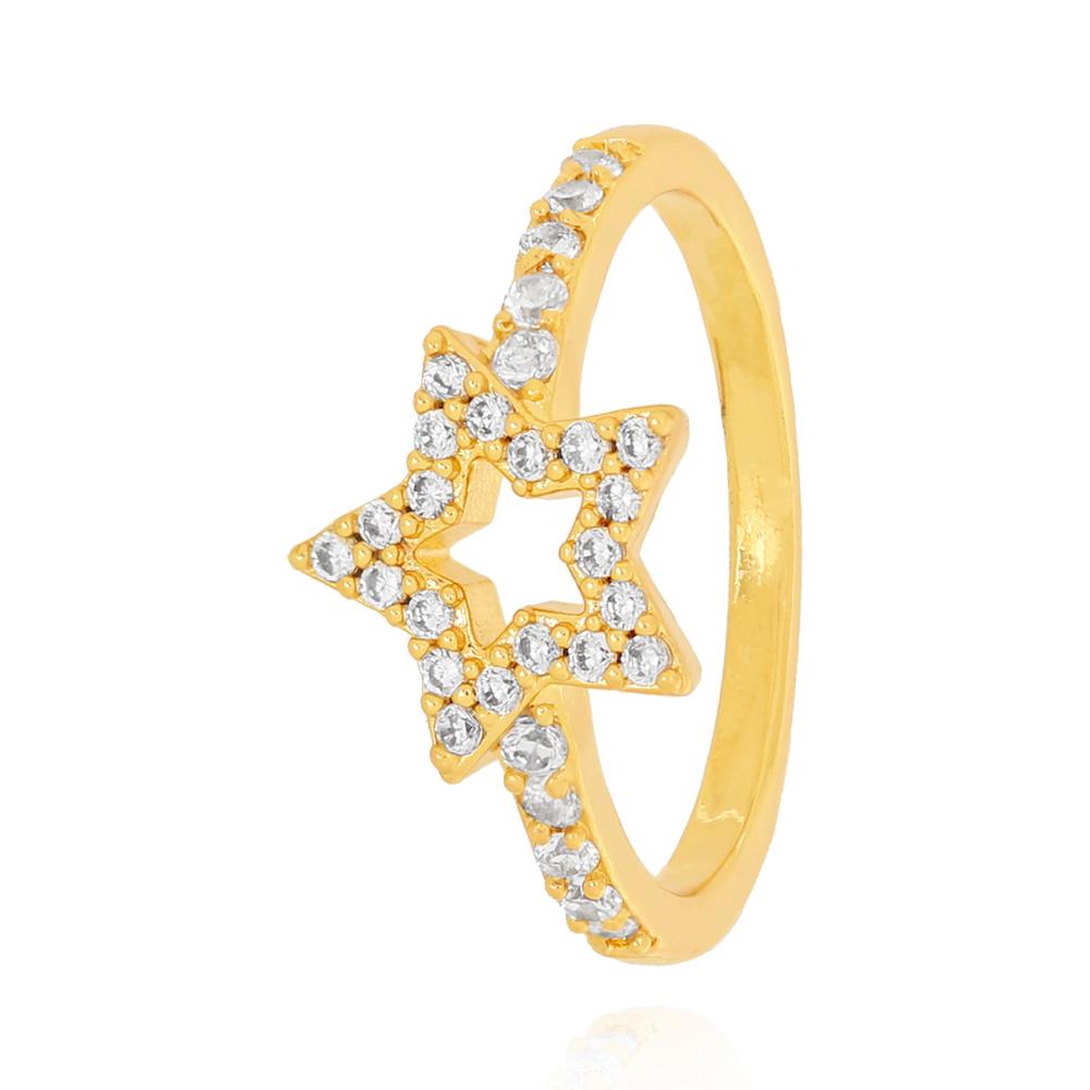 Anel Estrela Zircônia com Centro Vazado Semijoia Ouro 18K