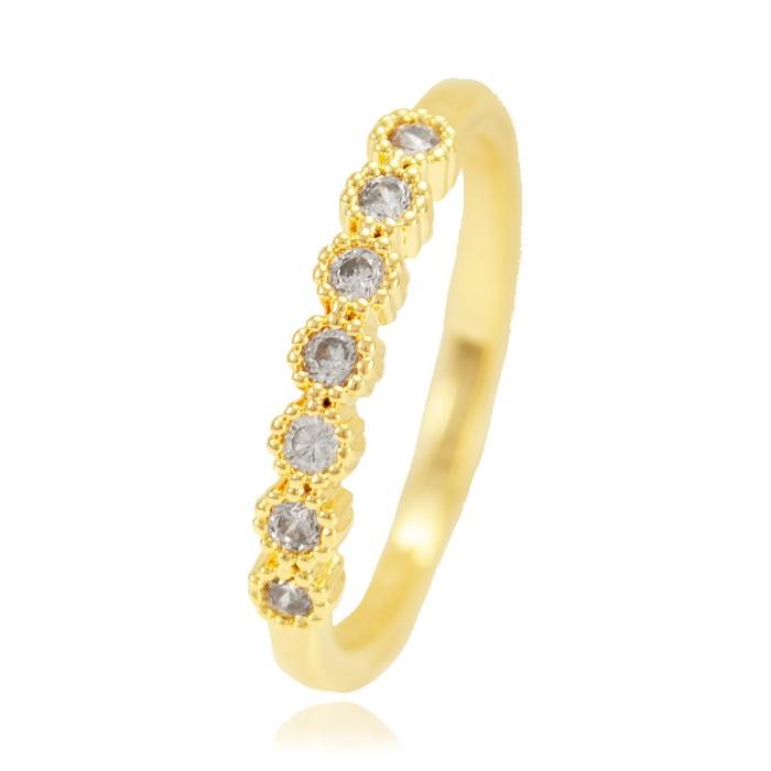 Anel Falange Folheado Ouro 18K Fileira de Micro Zircônia Cristal
