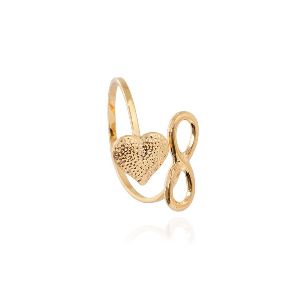 Anel Falange Regulável Folheado Ouro 18K com Simbolo do Infinito e Coração
