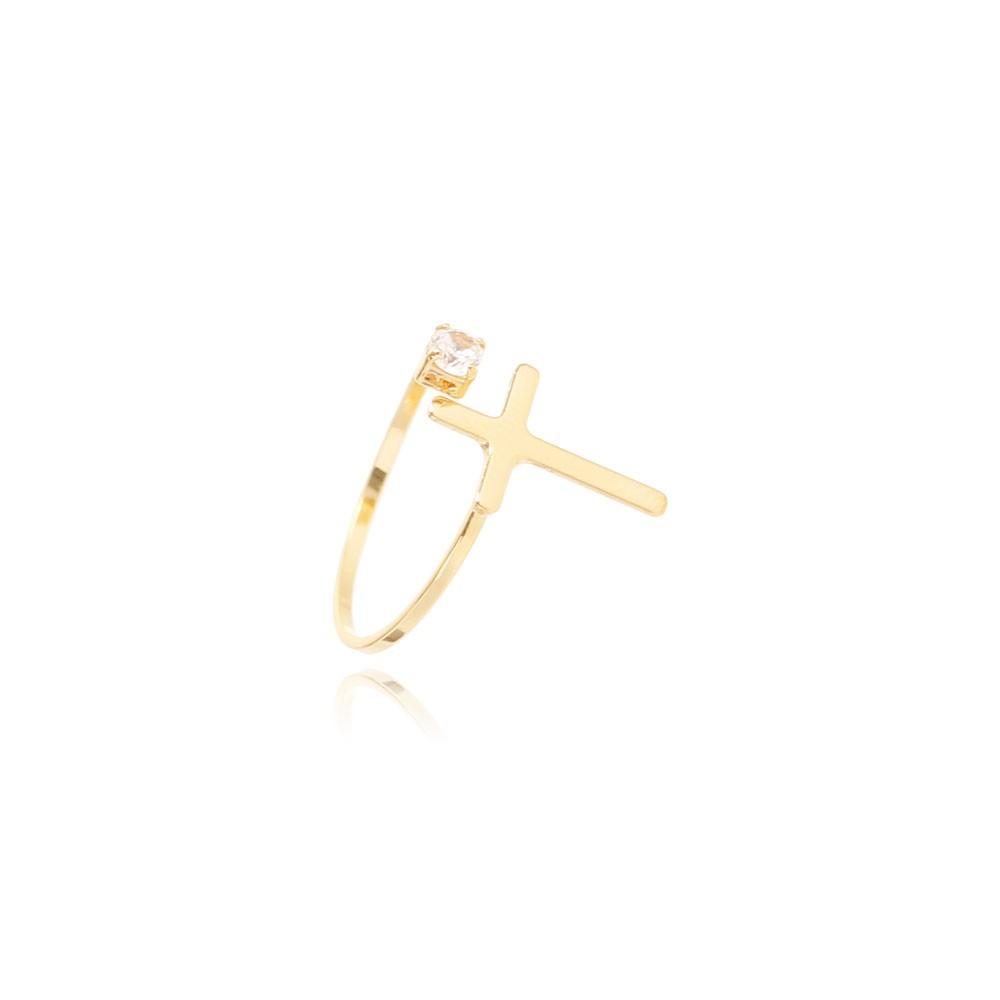 Anel Falange Regulável Folheado Ouro 18K Cruz Lisa com Ponto de Luz