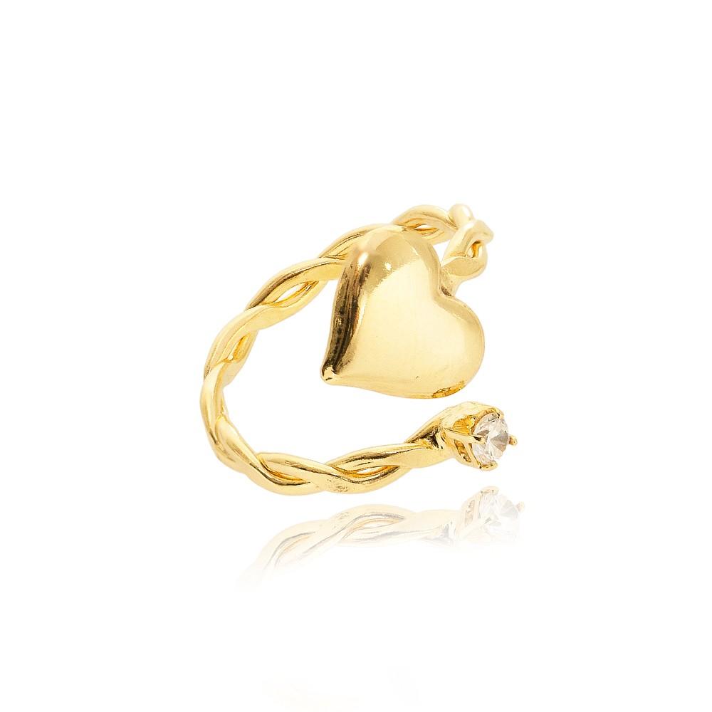 Anel Falange Regulável Folheado Ouro 18K Detalhes Trançados e Ponto de Luz e Coração
