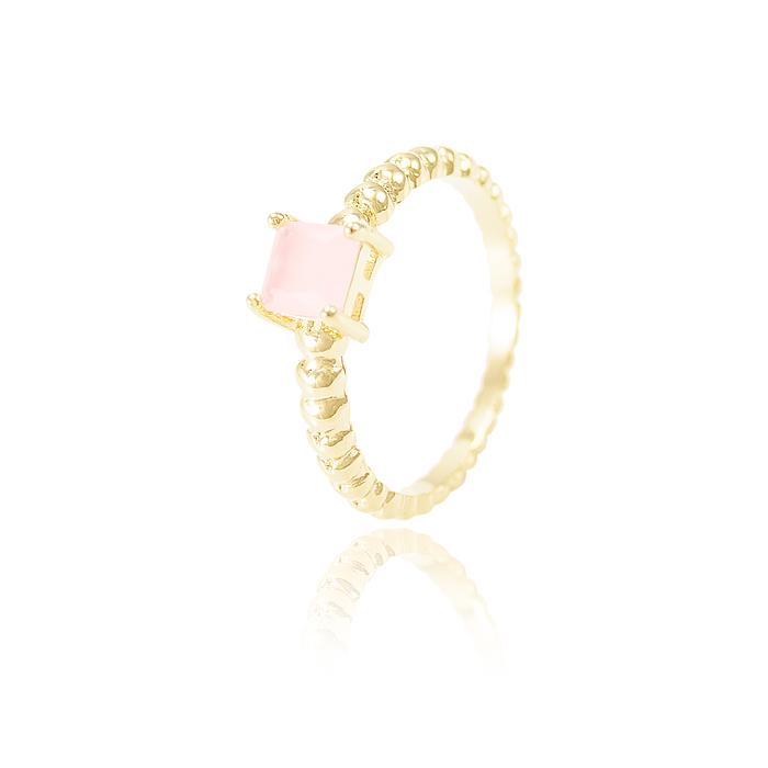 Anel Folheado Ouro 18K com Cristal Rosa Leitoso Qu