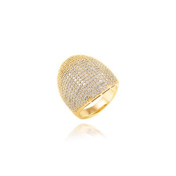 Anel Micro Zircônia Oval Semijoia Ouro 18K Champagne