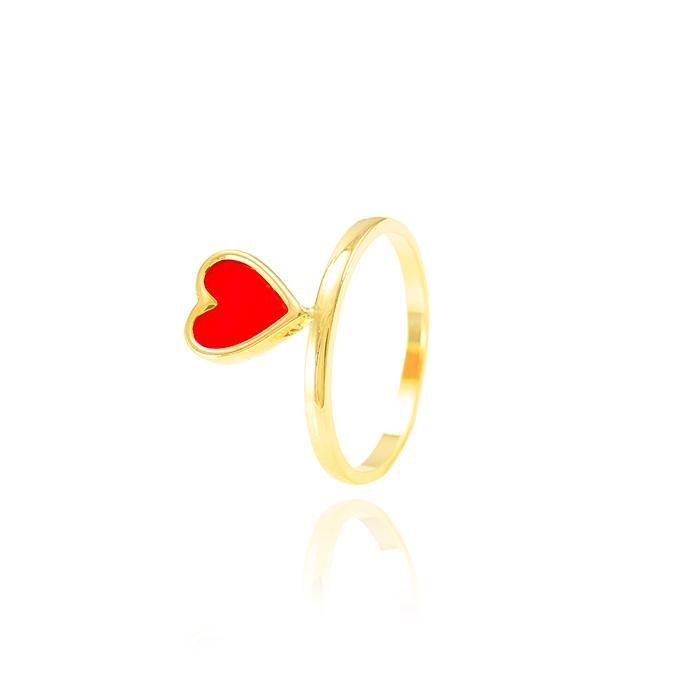 Anel Folheado Ouro 18K Coração com Resina Vermelha