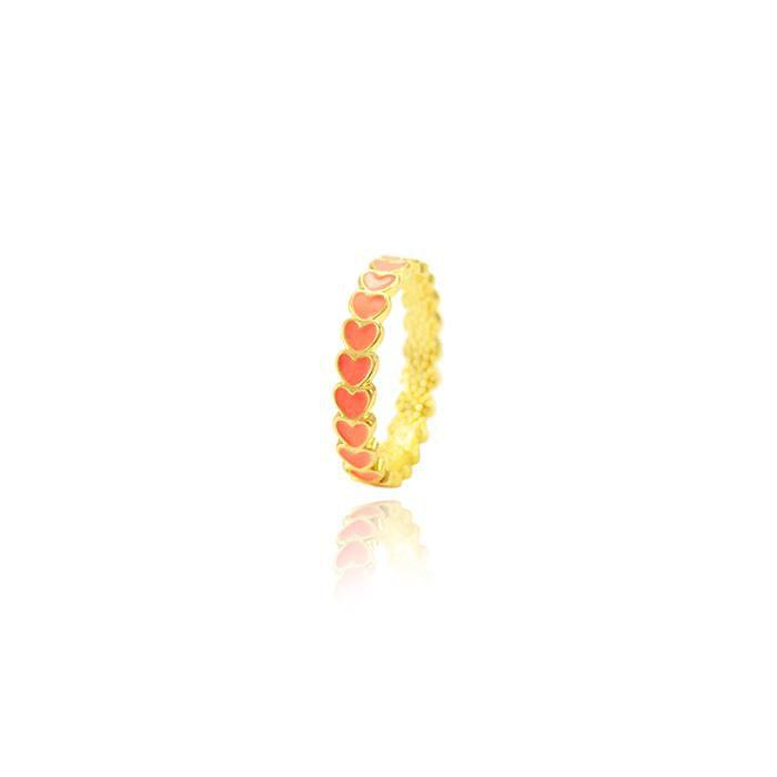 Anel Folheado Ouro 18K Corações com Resina Coral