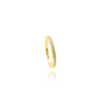 Anel Folheado Ouro 18K Fileira de Micro Zircônia C