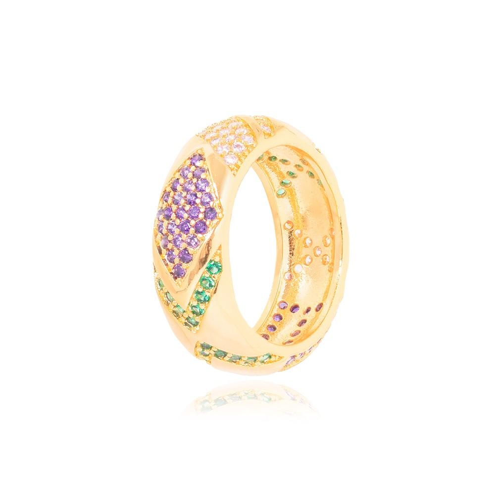 Anel Folheado Ouro 18K  Formas Variadas com Micro Zircônia Colorida