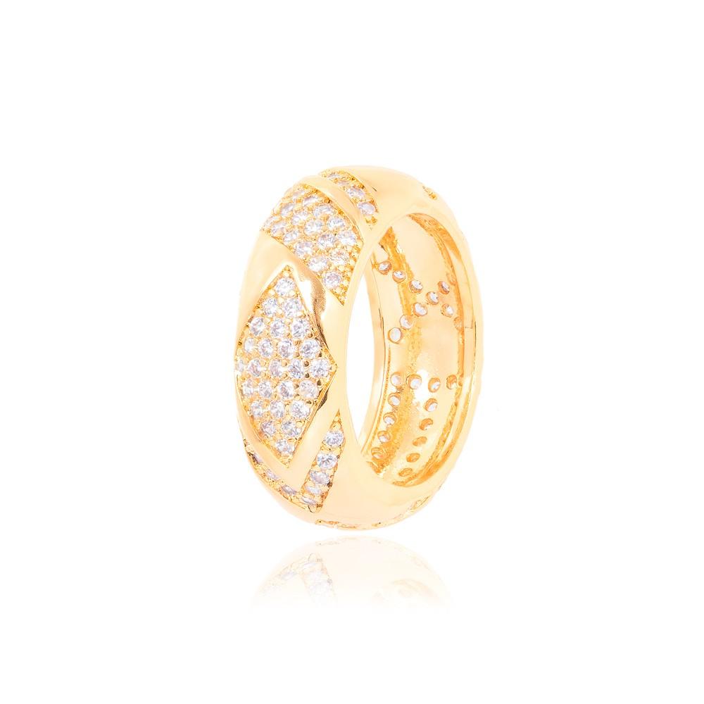 Anel Folheado Ouro 18K Formas Variadas com Micro Zircônia Cristal