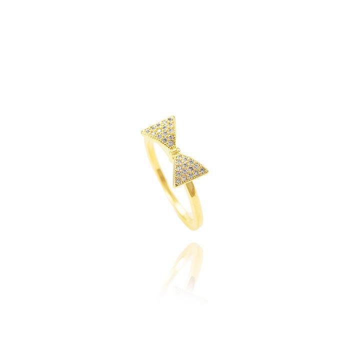 Anel Folheado Ouro 18K Laço com Micro Zircônia