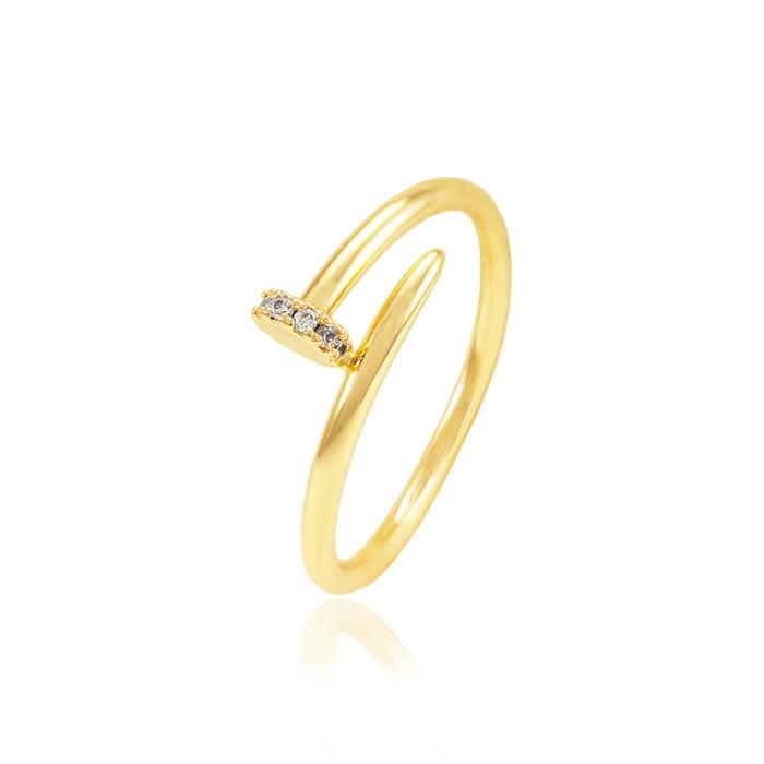 Anel Folheado Ouro 18K Prego Fino com Micro Zircônia Cristal Inspired Cartier