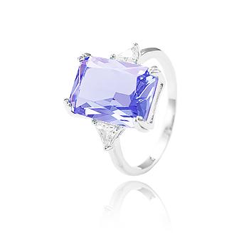 Anel Folheado Ródio com Cristal Retangular Violet