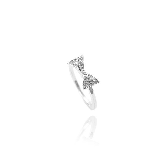 Anel Folheado Ródio Laço com Micro Zircônia