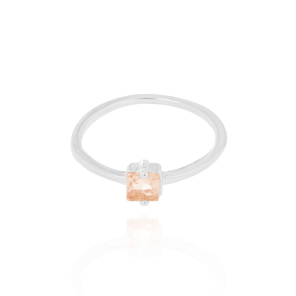 Anel Folheado Ródio Liso com Pedra Quadrada Cristal Citrino
