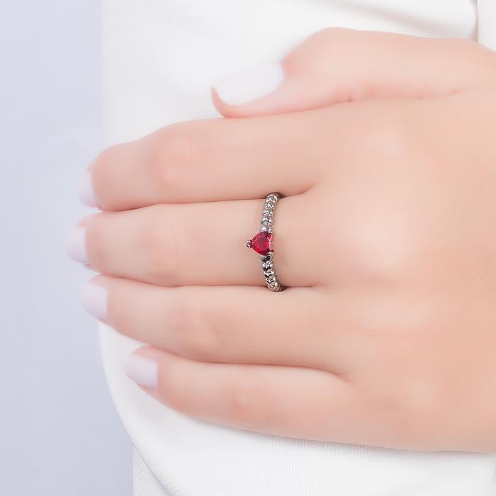 Anel Folheado Ródio Negro com Cristal Coração Pink