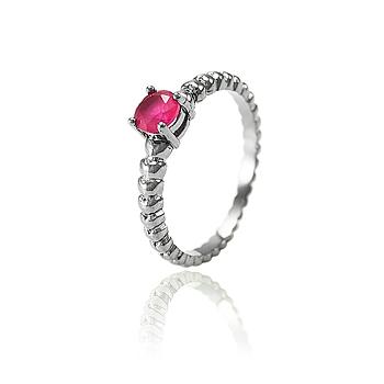 Anel Folheado Ródio Negro com Cristal Redondo Pink