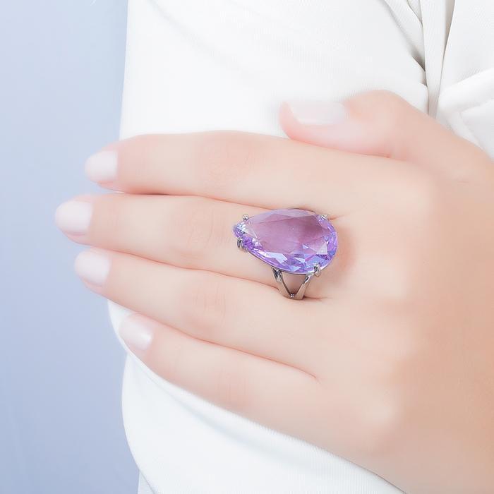 Anel Folheado Ródio Negro com Gota Cristal Violet