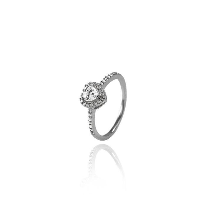 Anel Folheado Ródio Negro Coração Micro Zircônia com Pedra Central Cristal