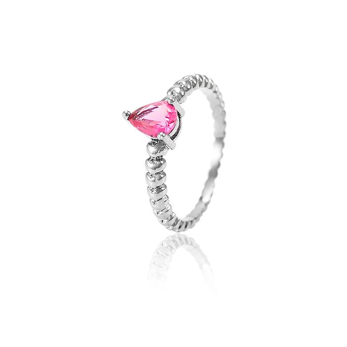 Anel Gota Folheado Ródio Negro com Cristal Pink